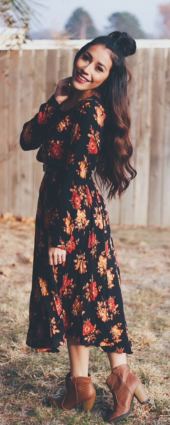 @roressclothes closet ideas #women fashion outfit #clothing style apparel black Floral Maxi Dress and Boots via