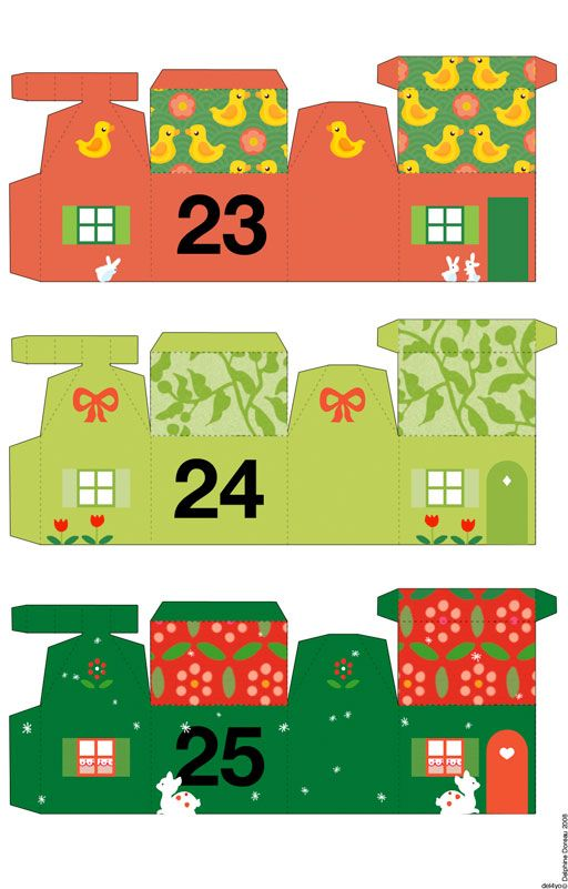 Free printable houses by Non Dairy Diary..print, assemble..count down the days