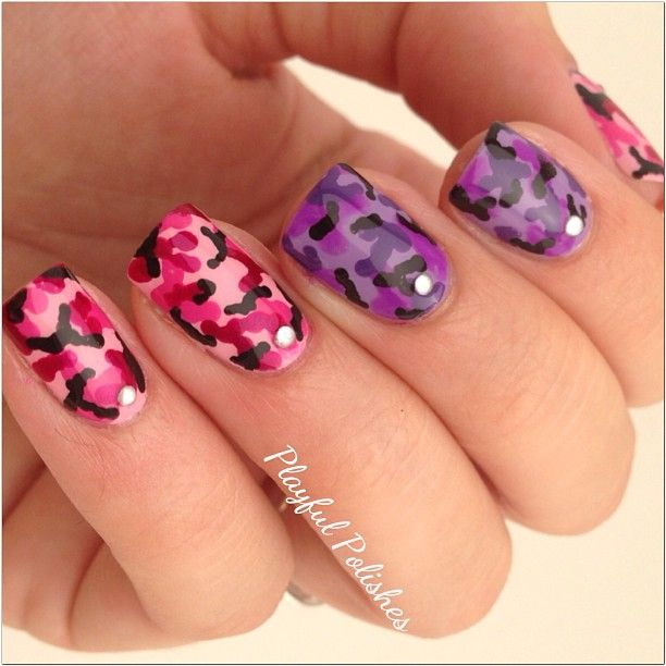 2251 best unique nail art images on pinterest nail scissors cute pink and purple camouflage nail art solutioingenieria Images