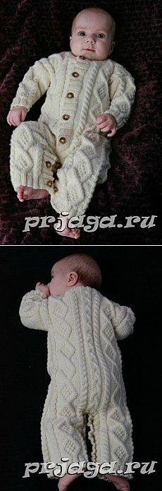 Mono de punto para bebé con un dibujo en relieve