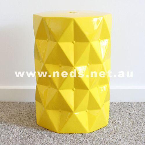 Diamond Cut Ceramic Stool - Yellow