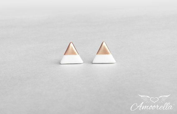 White Triangle Stud Earrings - Dipped in your choice of Rose Gold, Gold or Silver - Titanium Post Minimalist Modern Geo Geometric Jewelry