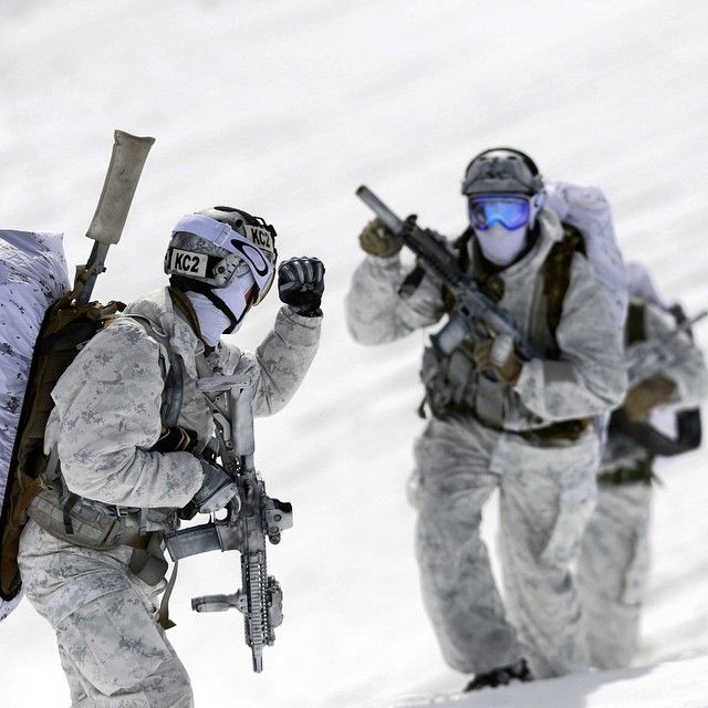 """Navy SEAL's from the Naval Special Warfare Community demonstrate winter warfare capabilities for a TV commercial produced by the Navy Recruiting Command…"""