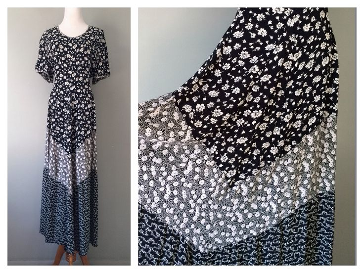 Vintage Bohemian Floral Dress Navy Blue White Hippy Boho Long Festival Dress Chevron Short Sleeve Print Free Size Small Medium Large XL Plus by HexHeartHollow on Etsy https://www.etsy.com/listing/265255535/vintage-bohemian-floral-dress-navy-blue
