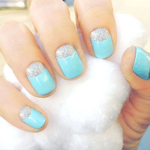 Baby Blue Creme Nails with Silver Microglitter Moons (AKA Reverse French Manicure)