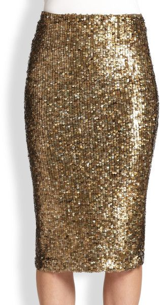 Alice + Olivia Metallic Sequin Pencil Skirt in Gold (BRONZE)