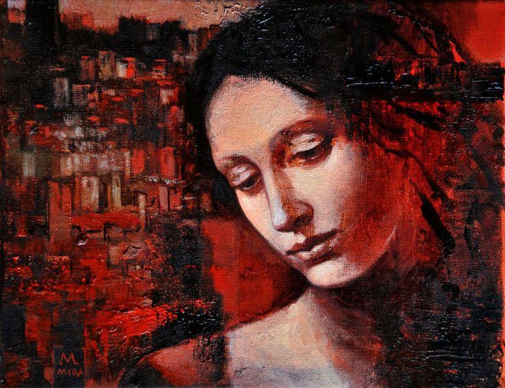 Czerwone miasteczko 2012 24x30 cm olej pąĘtno maąy