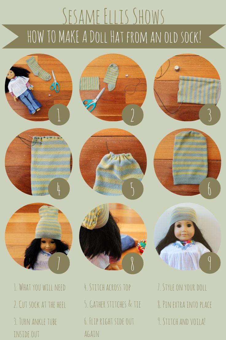 DIY :: No Knit needed American Girl doll hats!