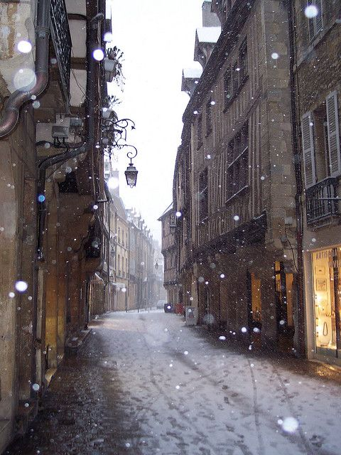 So pretty. When I was here, it was March; no snow but still beautiful. / French streets... Rue Verrerie, Dijon, France