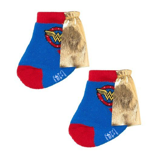 Wonder Woman Infant Blue Socks with Cape (0-6M)