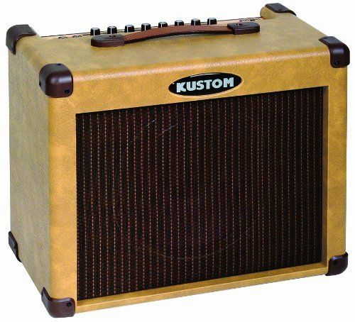 """Kustom Sienna Series """"Sienna 35"""" Acoustic Amplifier by Kustom. $199.99. The Sienna 35 is a 30-watt combo amplifier with a 10-inch speaker that is specifically designed to reproduce and enhance the natural sound of your guitar or other acoustic instrument. The approach is more """"hi-fi"""" in nature."""