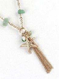 Beautiful Elegant Starfish Charm w/Tassel Jewel Accent Necklace & Earring Set 3 Colors