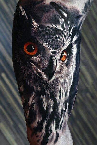 Orange Eyed Owl Mens Realistic Arm Quarter Sleeve Tattoo