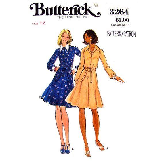 70s Shirt Dress Pattern Butterick 3264 Button Front Flared