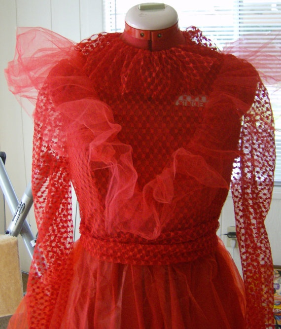 READY TO SHIP Beetlejuice Inspired Halloween Costume Red Wedding Dress Lydia Deetz