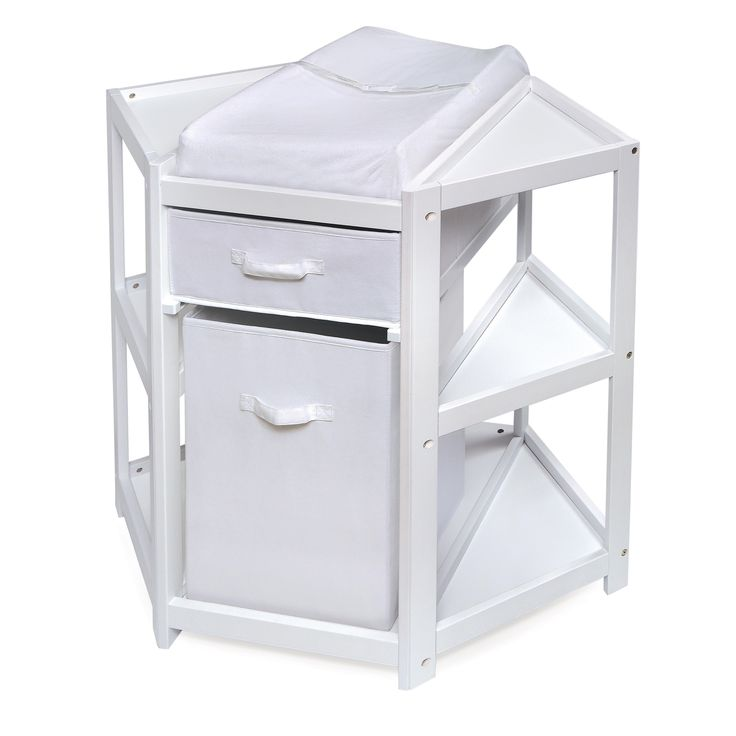 The Badger Basket's Diaper Corner changing table allows you to capitalize on the corner space in your baby's nursery. Including a hamper and storage basket and drawer, the hamper can be removed for carrying laundry.