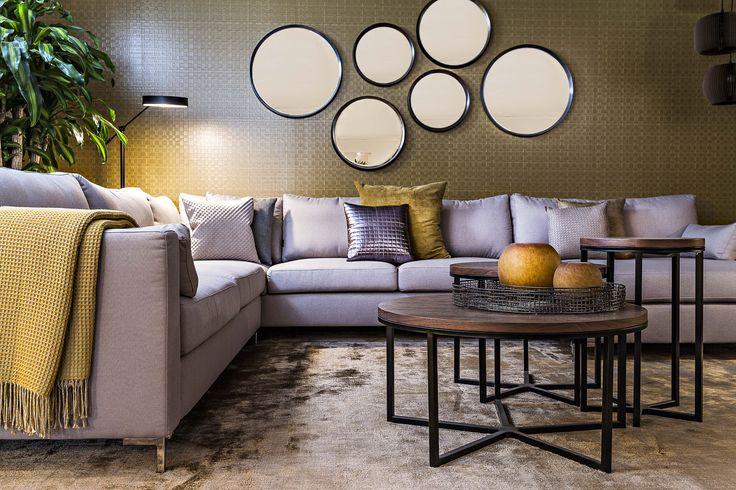 Lucent / Cosmopolitan Living / Yellow / Ocre / Mirros / Sofa / Loft / Interior / Decoration / Funiture / Dôme Deco