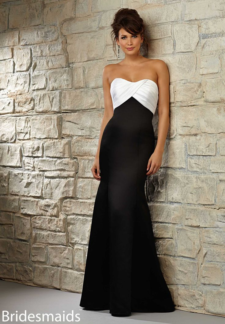 Bridesmaids Dresses Satin Available in White/Black (combination shown) or any Mori Lee Bridesmaids Satin Colors (solid).