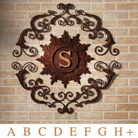 outdoor wall art-Kingston Monogram Wall Grille Brown Gold