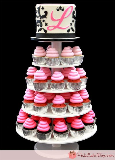 Sweet 16 Damask Cupcake Tower by Pink Cake Box in Denville, NJ.  More photos and videos at http://blog.pinkcakebox.com/sweet-16-damask-cupcake-tower-2012-04-07.htm