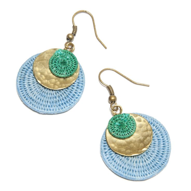 Global Goods Partners | Sisal and Brass Circle Earrings, Blue & Green: Handmade in Swaziland