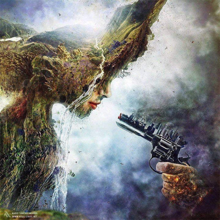 Representing mother nature being destroyed from humans and their construction.  This is my favourite piece because it uses a lot of different colours and goes into a lot of detail oh the gun and on mother nature. It also has a extremely powerful message and I think it represents exactly what the human race is doing to our environment.