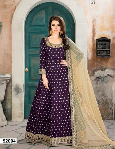 55c4dac5f05e Purple Taffeta Silk Anarkali Ladies Salwar Suits Online Shopping ...