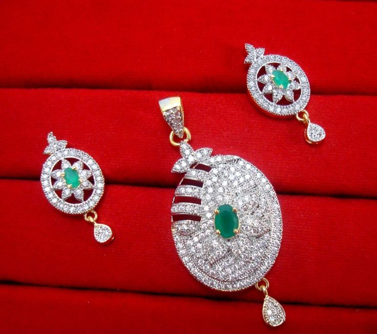 Daphne Charming Green Zircon Studded Pendant Earrings for Women