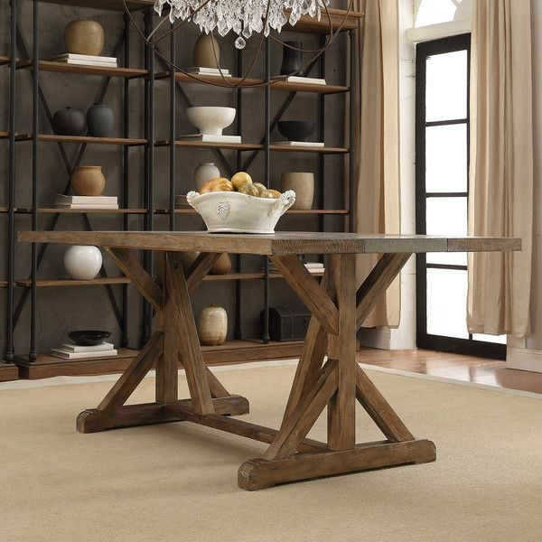 Benchwright Rustic Pine Concrete Accent Trestle Reinforced Dining Table By  INSPIRE Q Artisan By INSPIRE Q