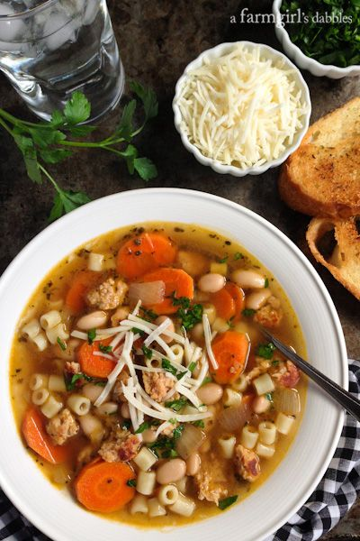 Italian Chicken Sausage Soup with White Beans - afarmgirlsdabbles.com #chicken #soup