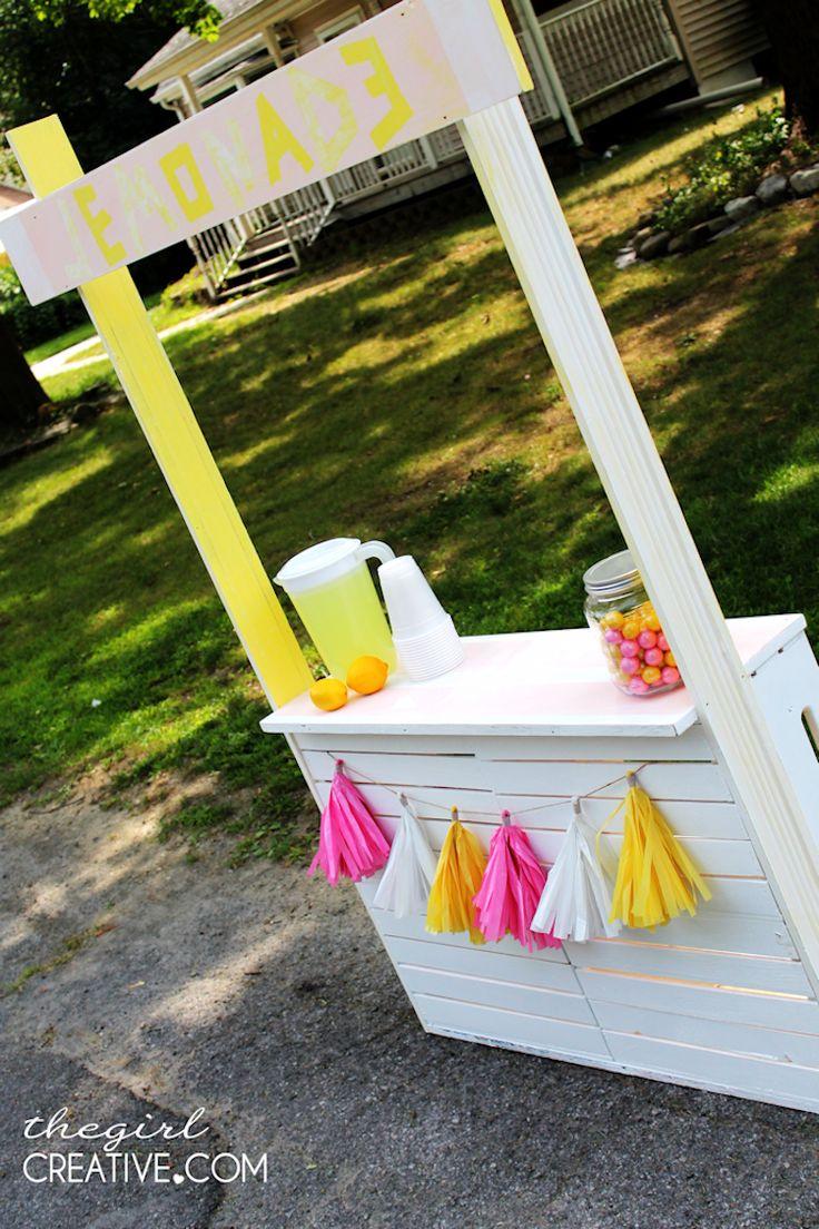 diy lemonade stand tassels tissue paper and shelves. Black Bedroom Furniture Sets. Home Design Ideas