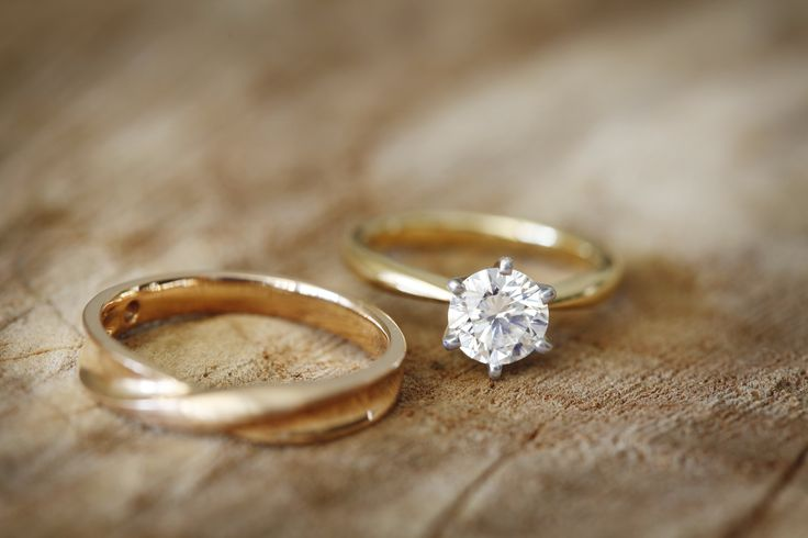 A solitaire diamond set in yellow gold. Simple, classic and elegant.