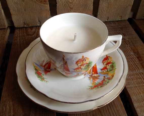 Vintage Teacup Trio  Soy Wax Candle by Peggyraeemporium on Etsy