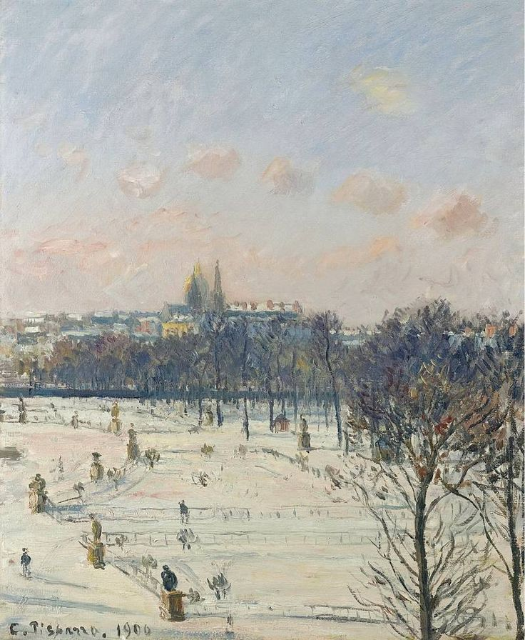Camille Pissarro - The Garden of Tuileries, Snow Effect, 1900. Картины с аукционов Sotheby′s. Download painting.