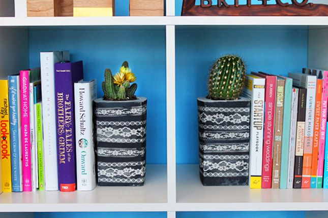 Use Lace and Concrete to Make Bookends, Planters, and Votives via Brit + Co.