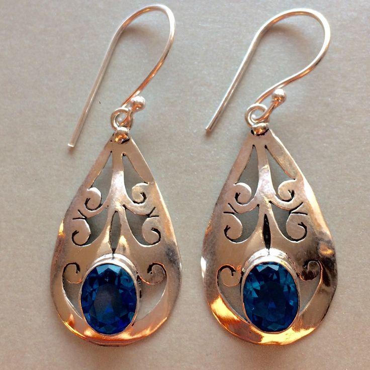 BOUCLES D'OREILLE en TOPAZE BLEUE SUISSE et ARGENT 925 (ref 75446356) : Boucles d'oreille par amanara