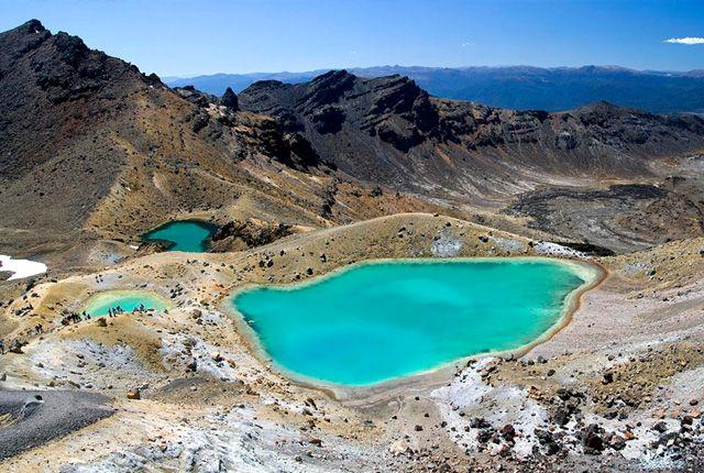 Tongariro Nemzeti Park: Új-Zéland első nemzeti parkja meglepetéseiről és szélsőségességeiről ismert. A park változatos ökoszisztémákkal rendelkezik, magában foglalva tavakat, aktív vulkánokat, gyógynövény-mezőket, vad erdőket és sivatagi fennsíkokat. Whakapapa Látogató Központjából kiindulva, egy nagyjából háromórás túra után, (mely végigvezet bennünket erdőkön, bozótosokon és több száz éves vulkánkitörések lávavonalai között) megtekinthetjük a lenyűgöző Taranaki vízesést.