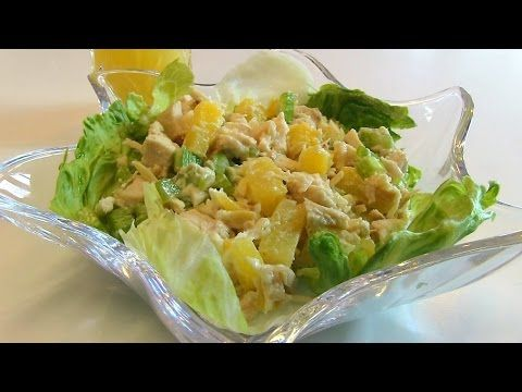 Betty's Hawaiian Chicken Salad - 2 ½ cups cooked chicken breasts, cut into cubes 20-ounce can pineapple tidbits, drained 1 ½ cups diced celery ½ cup toasted slivered almonds 1/3 cup mayonnaise ½ teaspoon salt (optional) Lettuce leaves