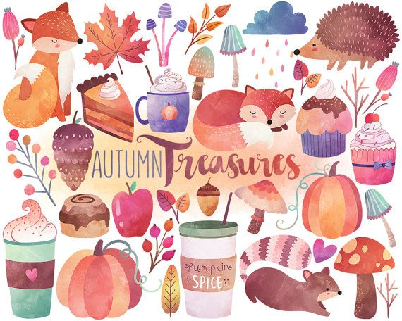 Watercolor Autumn Clipart - Watercolor Clipart, Fall Clipart, Autumn Clipart…