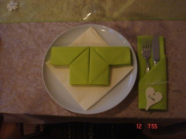 Sød måde at folde servietter på til barnedåb