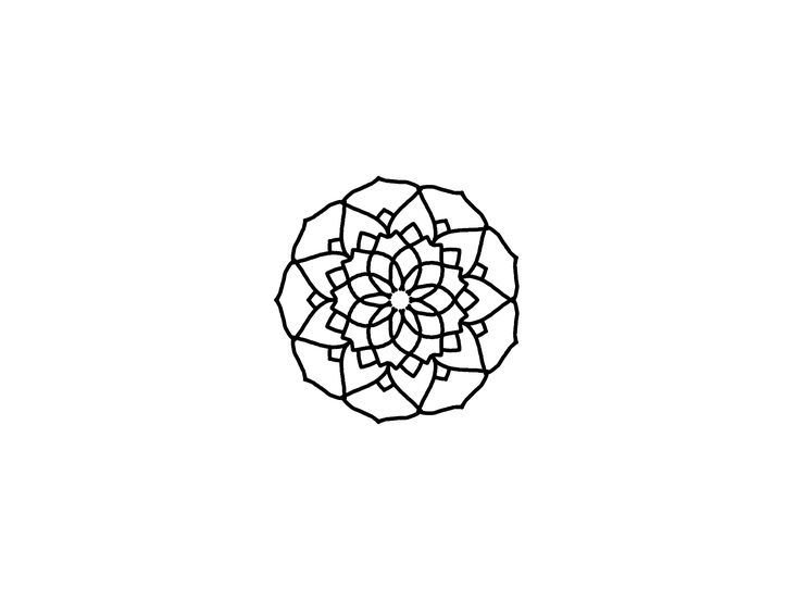 Mandala flower black and white linework design