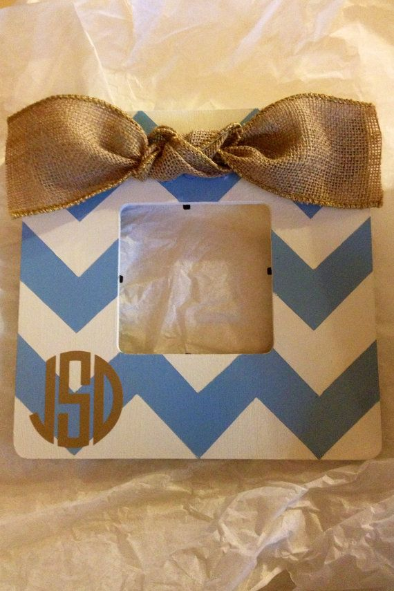 Monogrammed Chevron Picture Frame With Burlap by CourtneyRaeFrames, $26.50