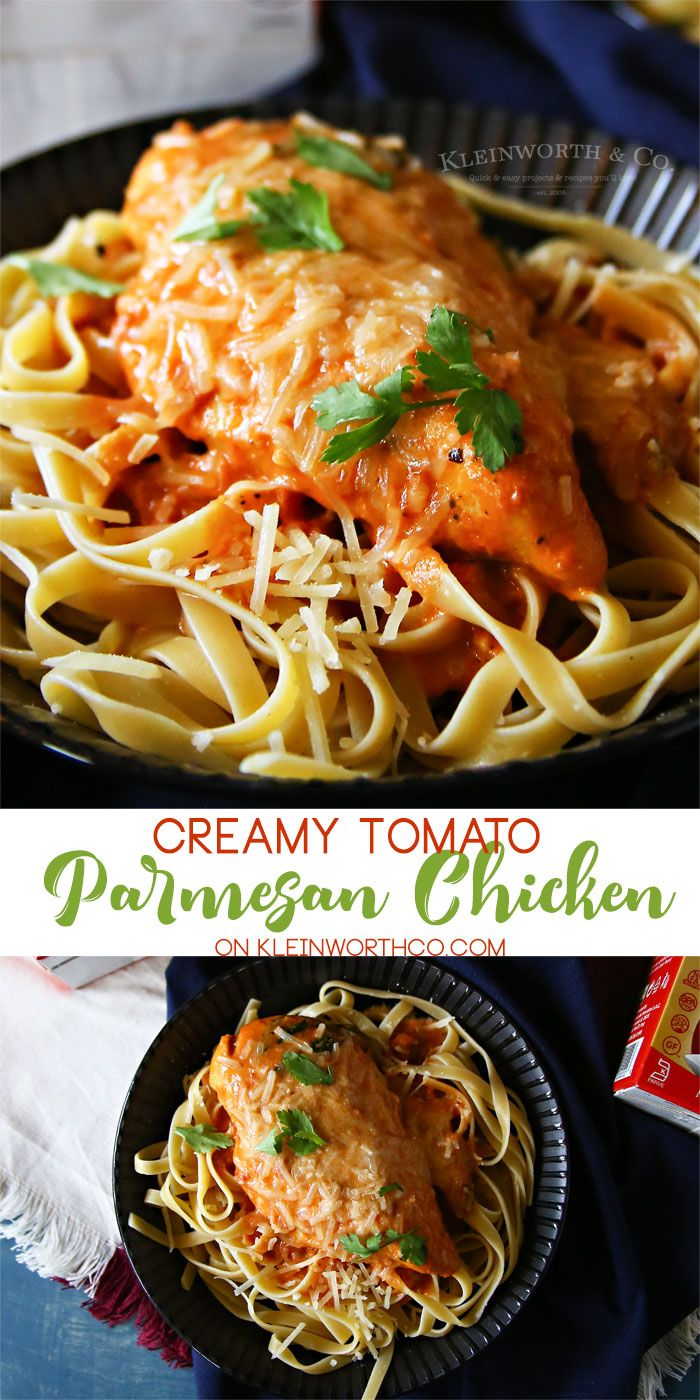 Creamy Tomato Parmesan Chicken, a simple chicken dinner recipe that's hearty enough for your hungry crowd & the perfect comfort food . #ad #perfectionissimple