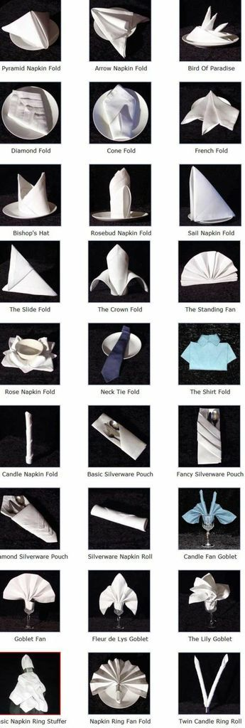 several forms fold cloth napkins