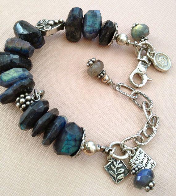 Labradorite Lovers Bracelet with .925 artisan sterling silver | Beading Bracelet 2 | Pinterest | Bracelets, Jewelry and Jewelry making