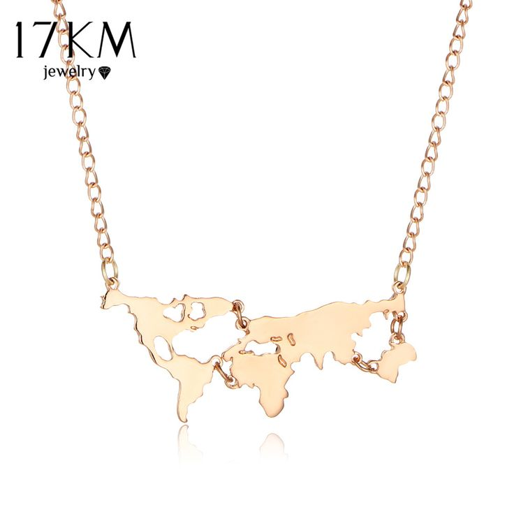 17KM Gold Color Black 3 Color Globe World Map Pendant Necklace Personality Teacher Student Gifts Earth Jewelry Wholesale