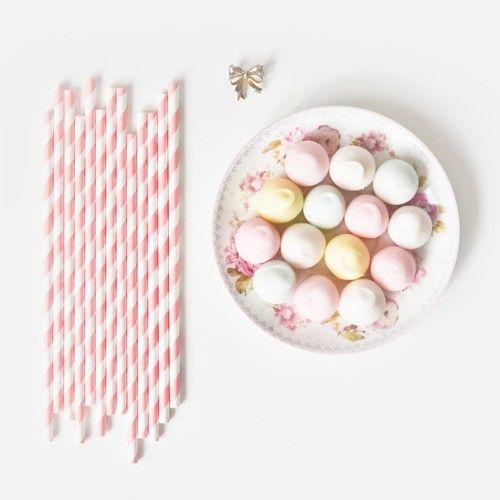 Light pink paper straws / Paie de hartie roz deschis