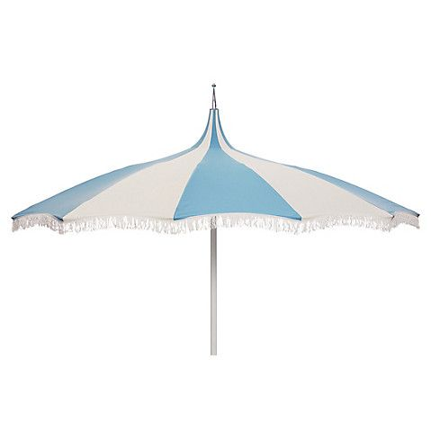 Ari Pagoda Fringe Patio Umbrella, Light Blue/White $499.00