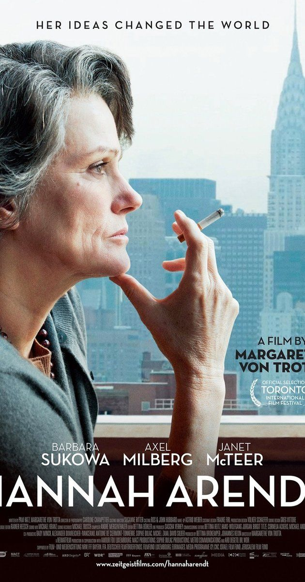 Directed by Margarethe von Trotta.  With Barbara Sukowa, Axel Milberg, Janet McTeer, Julia Jentsch. A look at the life of philosopher and political theorist Hannah Arendt, who reported for The New Yorker on the war crimes trial of the Nazi Adolf Eichmann.