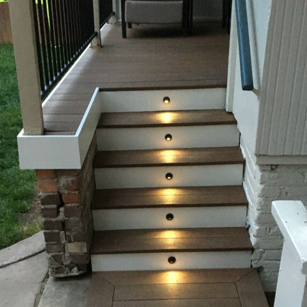 Recessed Led Riser Light With Shade By Deckorators Decksdirect In 2020 Deck Stair Lights Outdoor Stair Lighting Step Lighting